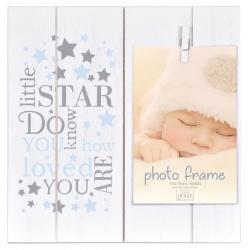 Detský fotorámik 10x15 so štipcom LITTLE STARS modrý