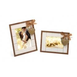 Svadobný drevený fotorámik s aplikáciou WE ARE TOGETHER 13x18 biely