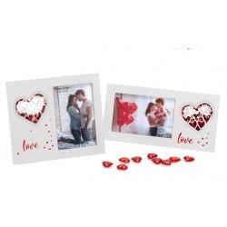 Svadobný drevený fotorámik s aplikáciou SWEET KISSES 15x10cm