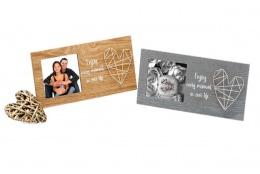 Svadobný drevený fotorámik s aplikáciou FRIENDSHIP 10x10 natur
