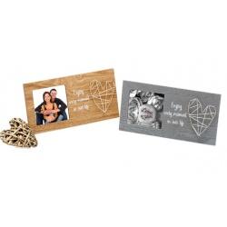 Svadobný drevený fotorámik s aplikáciou FRIENDSHIP 10x10 šedý