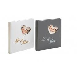 Svadobný fotoalbum na rožky MR and MRS biely