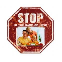 Plechový fotorámik STOP na foto 15x10 červený