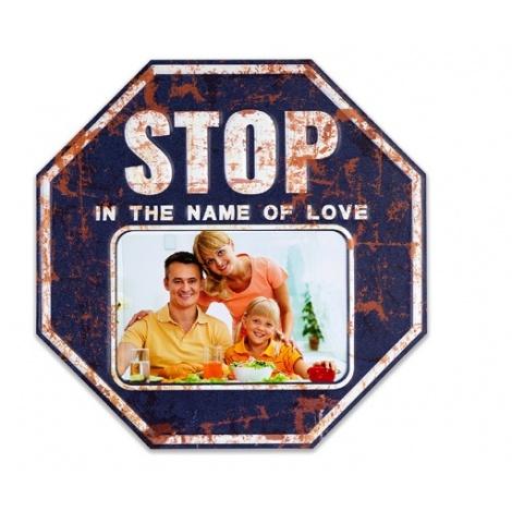 Plechový fotorámik STOP na foto 15x10 modrý