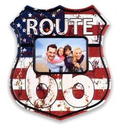 Plechový fotorámik ROUTE 66 na foto 15x10 Amerika