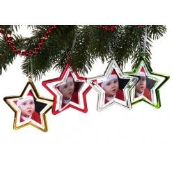 Vianočná ozdoba v tvare hviezdy na 2 foto červené