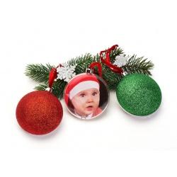 Vianočná ozdoba v tvare gule s priemerom 8,7cm červená