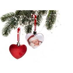 Vianočná ozdoba v tvare srdca červená