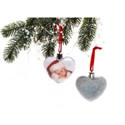 Vianočná ozdoba v tvare srdca strieborné