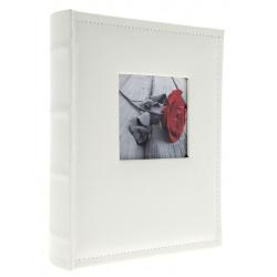 Samolepiaci kožený fotoalbum 24x29/40s. WHITE s výrezom na fotku