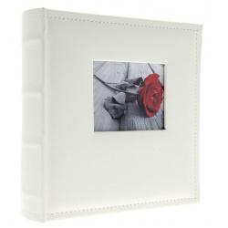 Kožený fotoalbum 10x15/300 s popisom WHITE W s výrezom na fotku