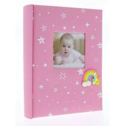 Detský fotoalbum 10x15/200 foto popis RAINBOW ružový vysoký