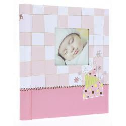 Detský samolepiaci fotoalbum 22x28/60s. BABY CHECKER ružový