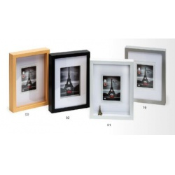 Hluboký dřevěný fotorámeček XXL A4 stříbrný