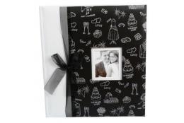 Svadobný fotoalbum 29x32/60s. PETITE AMOUR čierna mašľa