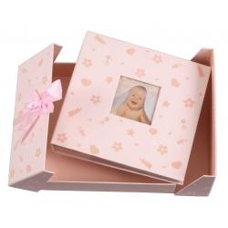Modrý detský fotoalbum Baby nursery 10x15/200F popis ružový
