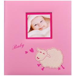 Detský fotoalbum na rožky BABY SHEEP ružový