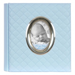 Modrý detský fotoalbum Baby Quilted 10x15/200 s popisom