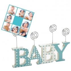 Drevený detský fotorámik-fotoclip BABY CLIP modrý