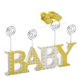 Detský devený fotorámček-fotoclip BABY žltý