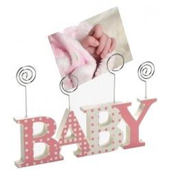 Detský drevený fotorámik-fotoclip BABY ružová