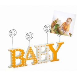 Detský drevený fotorámik-fotoclip BABY oranžový