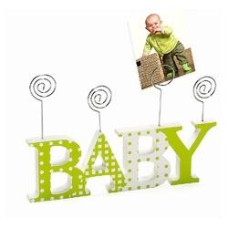 Detský drevený fotorámik-fotoclip BABY zelený
