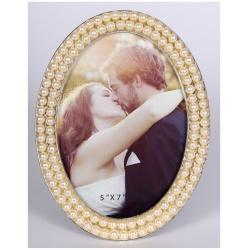 Svadobný perlový oválny fotorámik 13x18 PEARL