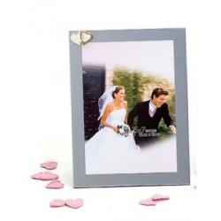Svadobný fotorámik 13x18 WEDDING HEARTS strieborný
