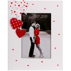 Svadobný drevený fotorámček s aplikáciou FIRST LOVE 10x15 cm