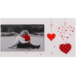 Svadobný drevený fotorámik s aplikáciou FIRST LOVE 15x10cm