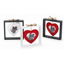 Drevený fotorámik SWINGING HEART sivý biele srdce