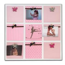 Drevený fotorámik na viac fotografií BALLET GIRL ružový