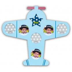 Detský drevený fotorámik BABY lietadlo modrý