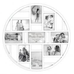 Okrúhly biely fotorámik na viac fotiek 9f 10x15