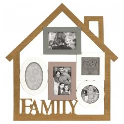 Drevený fotorámik na viac fotiek na stenu FAMILY domček