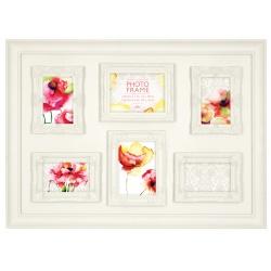 Biely fotorámik na viac fotiek s dekoratívnou bordúrou 6f