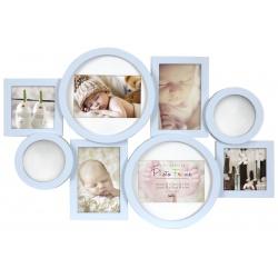 Detský modrý fotorámik na viac fotografií so zrkadielkami
