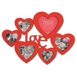 Červený srdiečkový fotorámik na viac fotiek LOVE