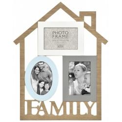 Drevený fotorámček domček na viac foto FAMILY