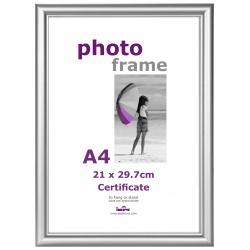 Strieborný plastový fotorámik A4 21x29,7 plexi