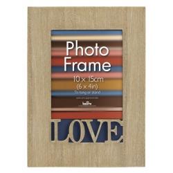 Drevený fotorámik 10x15 s vyrezaným detailom Love