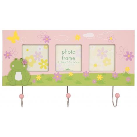 Fotorámik/vešiačik Cute frog na 3 fotky ružový