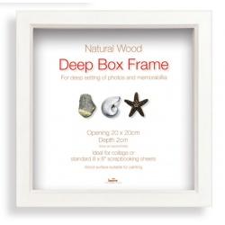 Hlboký drevený fotorámik Box 30x30cm biely