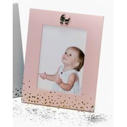 Kovový detský fotorámik BABY FACE 13x18 ružový