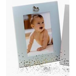 Kovový detský fotorámik 13x18 BABY FACE modrý