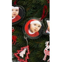 Vianočná ozdoba rámik krúžok so stromčekom 6,3cm