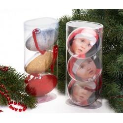 Set troch vianočných ozdôb guľa priemeru 8,7cm