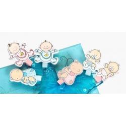 Detský fotoštipec BABY CLIP modrý 6ks