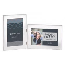 Strieborný kovový fotorámček na 2 fotky 10x15 SS